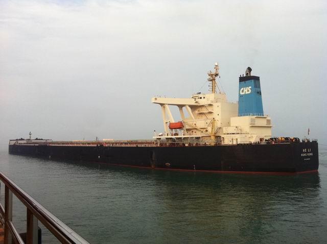 """6月29日,傍晚1800时,巨无霸""""合利""""号超大型矿船在青岛港引航站高级引航员宋学斌、一级引航员孙健的安全引领下,安全靠泊在董家口新港区40万吨矿石码头,该船长327米,船宽55米,吃水达到了21.4米,载货量29.1万吨,当天下午1400,高级引航员、副站长王存琪,高级引航员引航员宋学斌、一级引航员孙健、二级引航员杨勇乘坐拖轮出发,1500在登船点登船,他们克服船舶满载,船体大,吃水深等困难,凭着精湛的引航技术和娴熟的引航经验,在1800安全靠泊董家口40万矿石码头,这是有史以"""